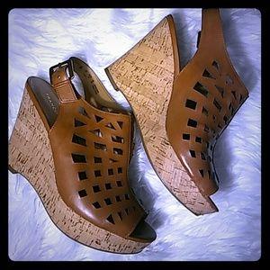 Franco Sarto Cork Wedge Heels-Size 9